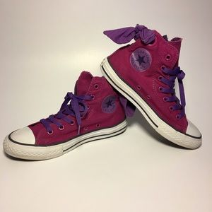 Girls Converse All Star Chucks Pink Purple Bow 🎀